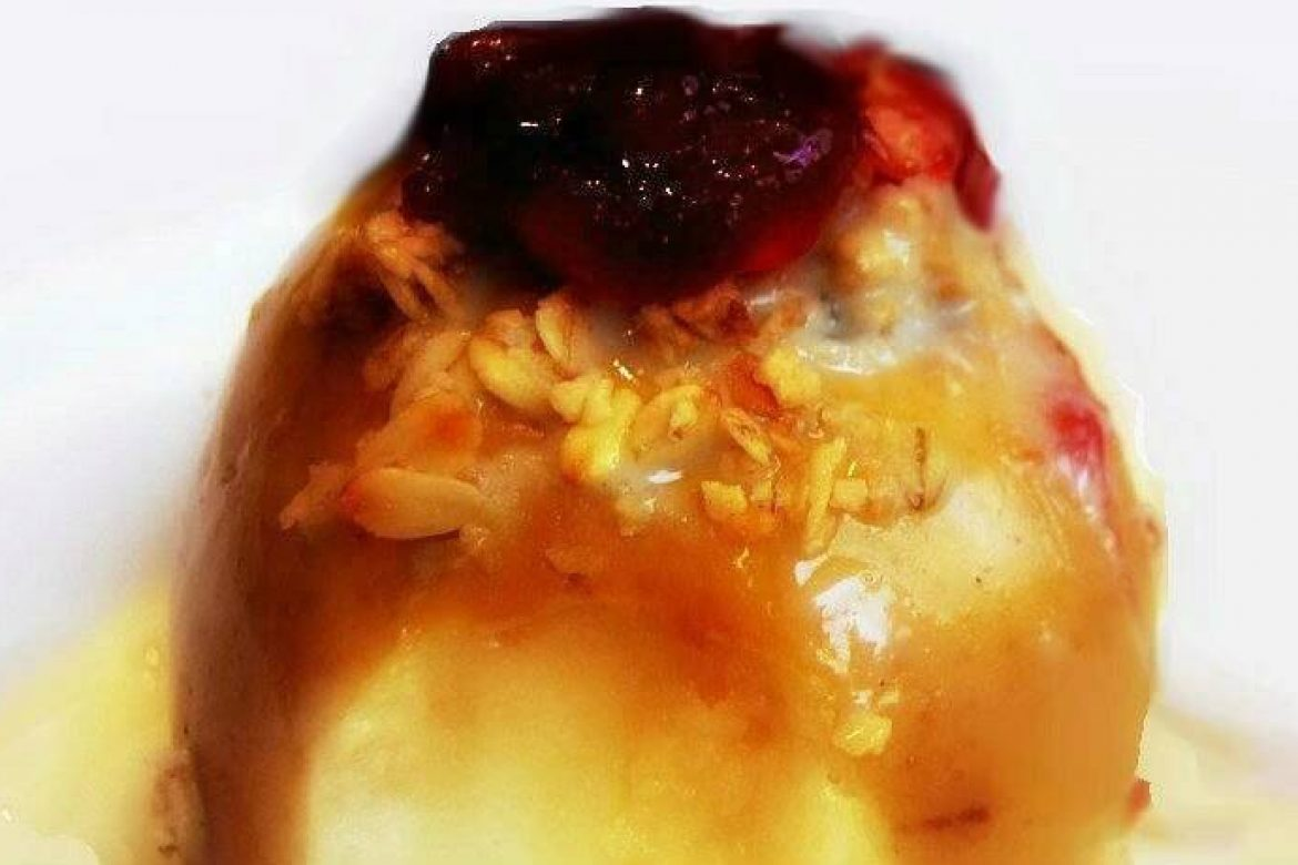 Baked Apple with Cranberry Jam