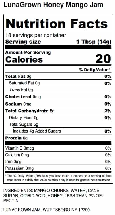 LunaGrown Honey Mango Jam Nutrition label