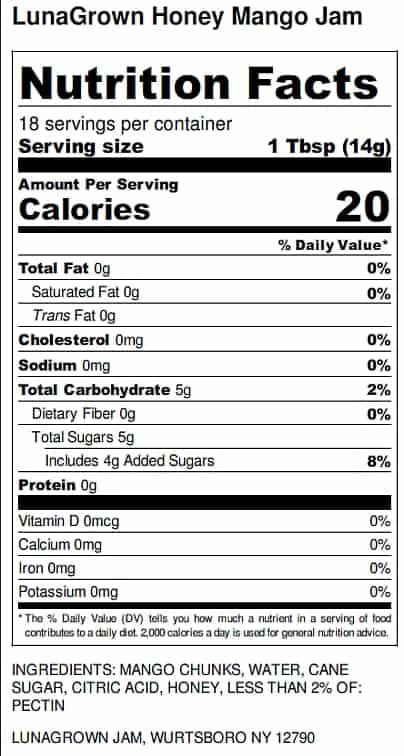 LunaGrown Honey Mango Jam Nutrition label