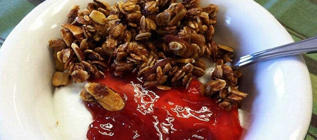 granola jam and yogurt
