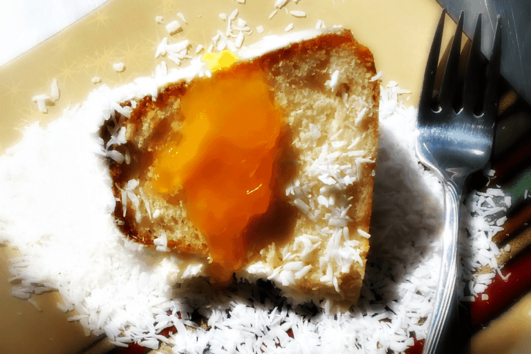 LunaGrown Mango Jam on Coconut Pound Cake
