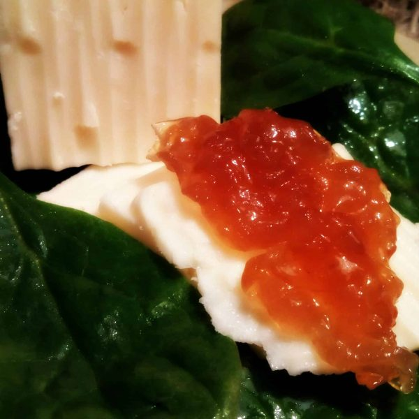 LunaGrown Onion Jam on Cheddar