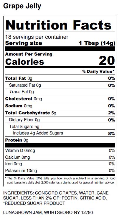 NY Grape Jelly nutrition