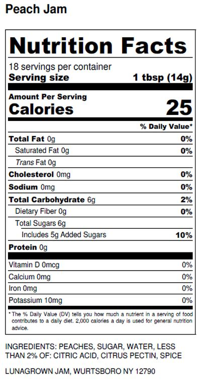 LunaGrown Peach Jam Nutrition Label
