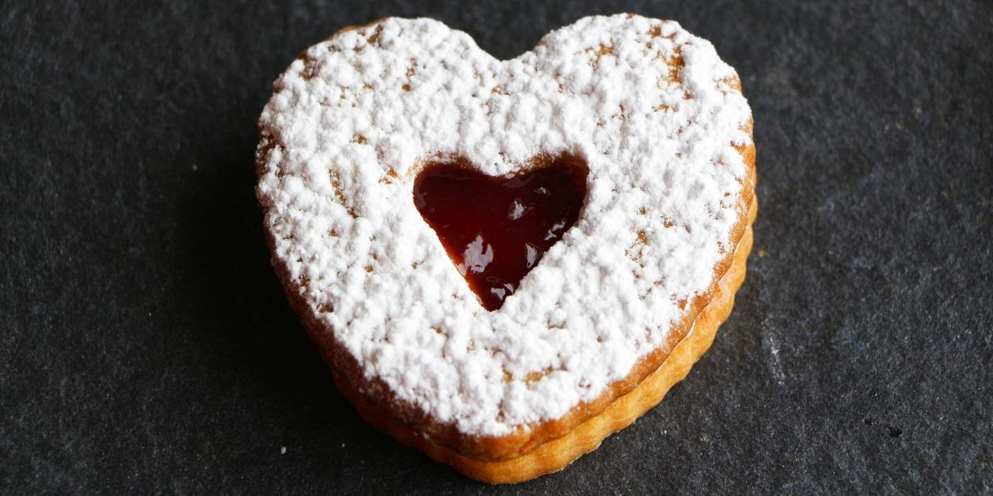 Jam Filled Valentine heart cookies