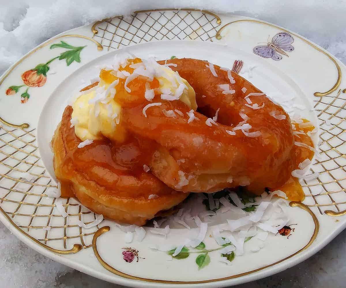 apricot jam glazed donut