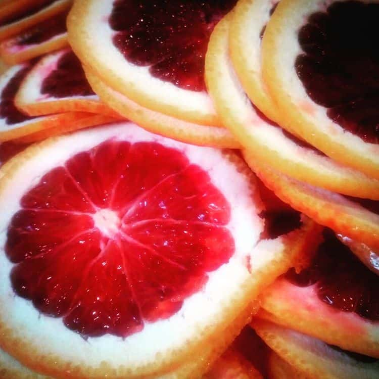 sliced blood oranges for marmalade