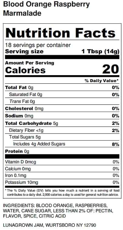 Blood Orange Marmalade Nutrition