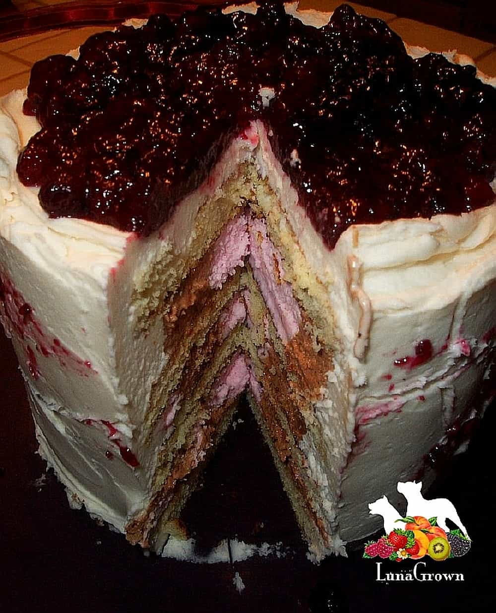 Ice Cream Cake with LunaGrown Blueberry Jam