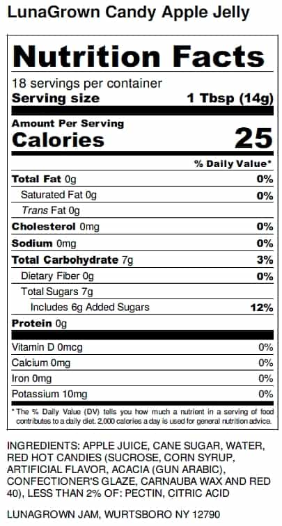 LunaGrown Candy Apple Jelly Nutrition Label
