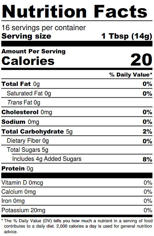 Chipotle Jelly Nutrition Label