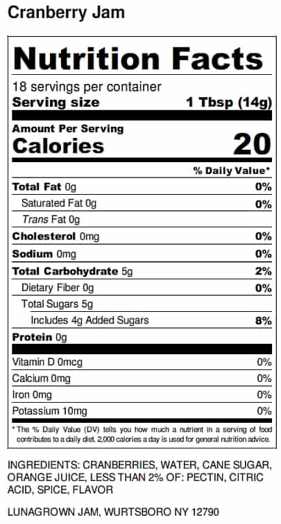 LunaGrown Cranberry Jam nutrition Label