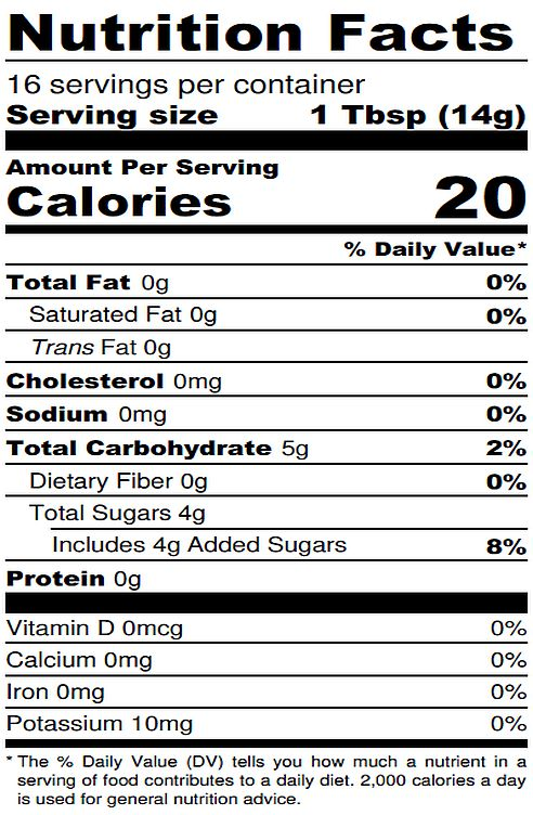 Pear Jam Nutrition Label