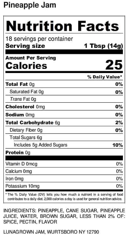 LunaGrown Nutrition Label pineapple jam
