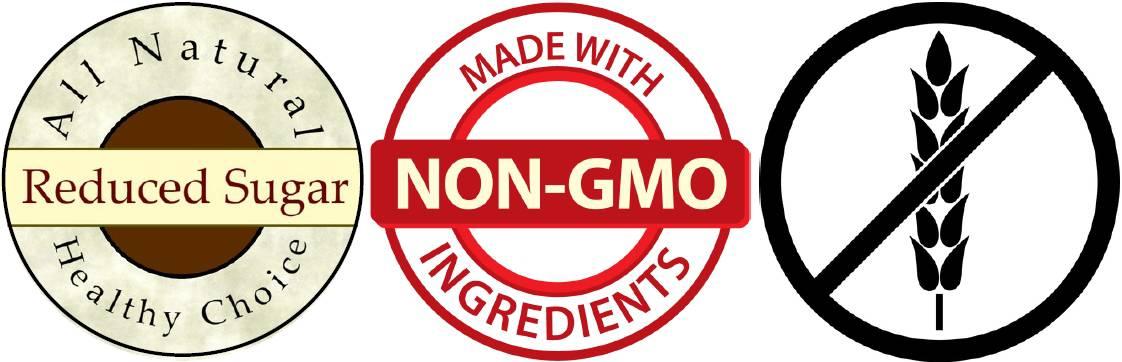 reduced sugar, gluten free, non-gmo