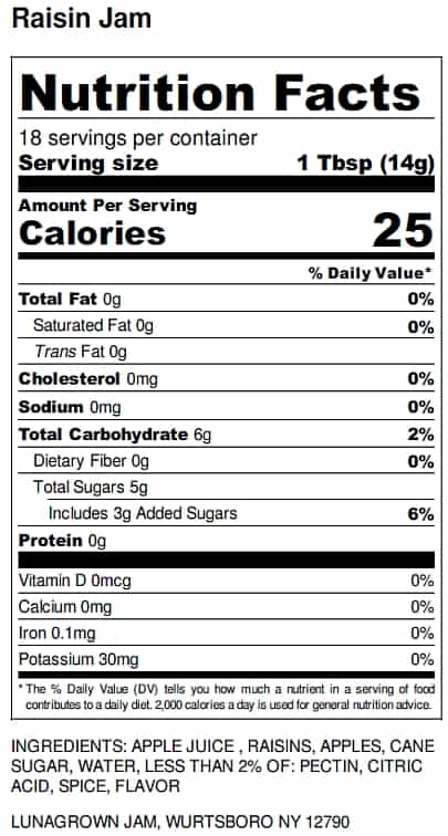 LunaGrown Raisin Jam nutrition label