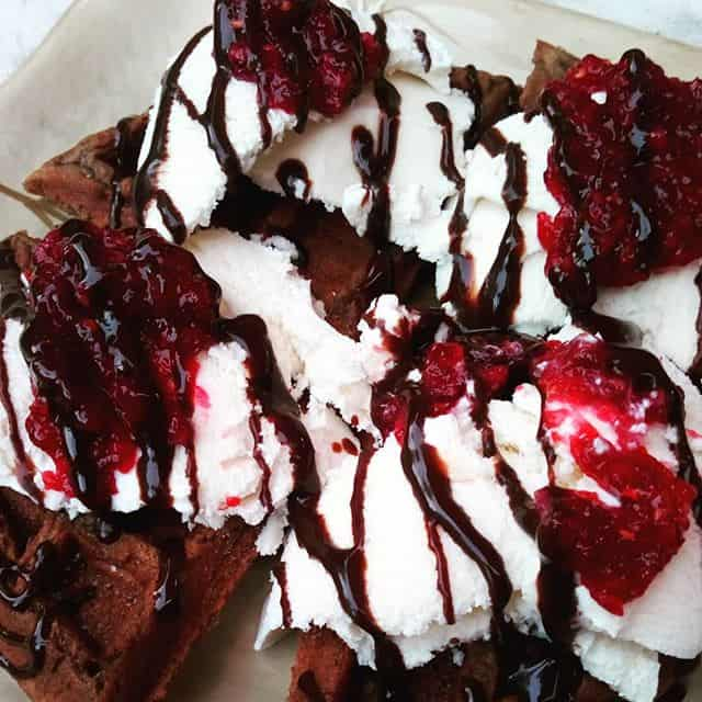 Raspberry Jam on Chocolate Waffles