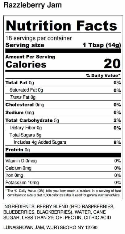 razzleberry jam nutrition