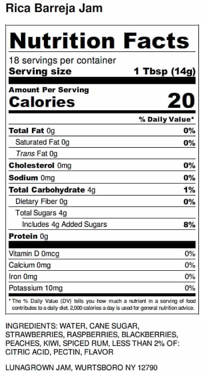 Nutrition label LunaGrown Rica Barreja jam