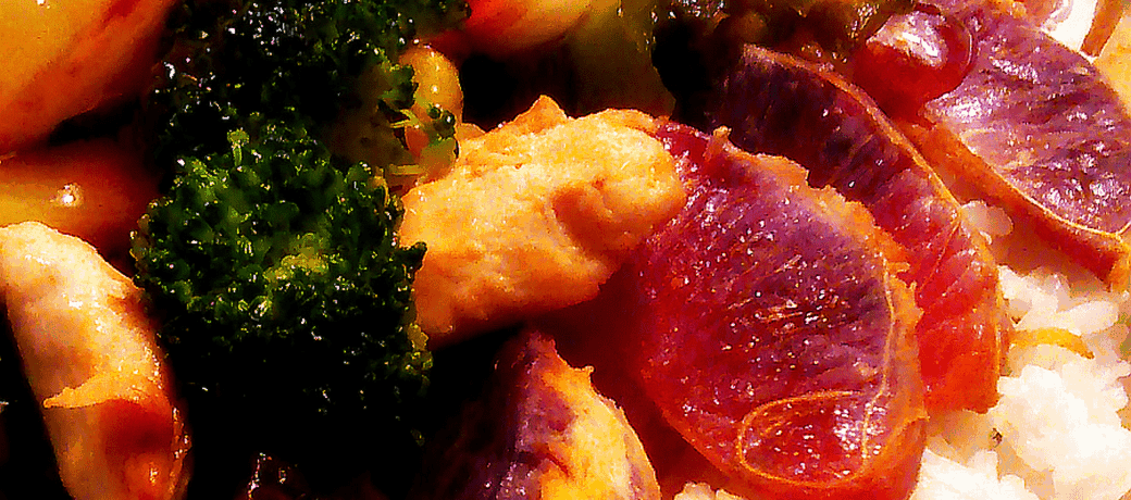 apricot sweet and hot sauce over vegetables
