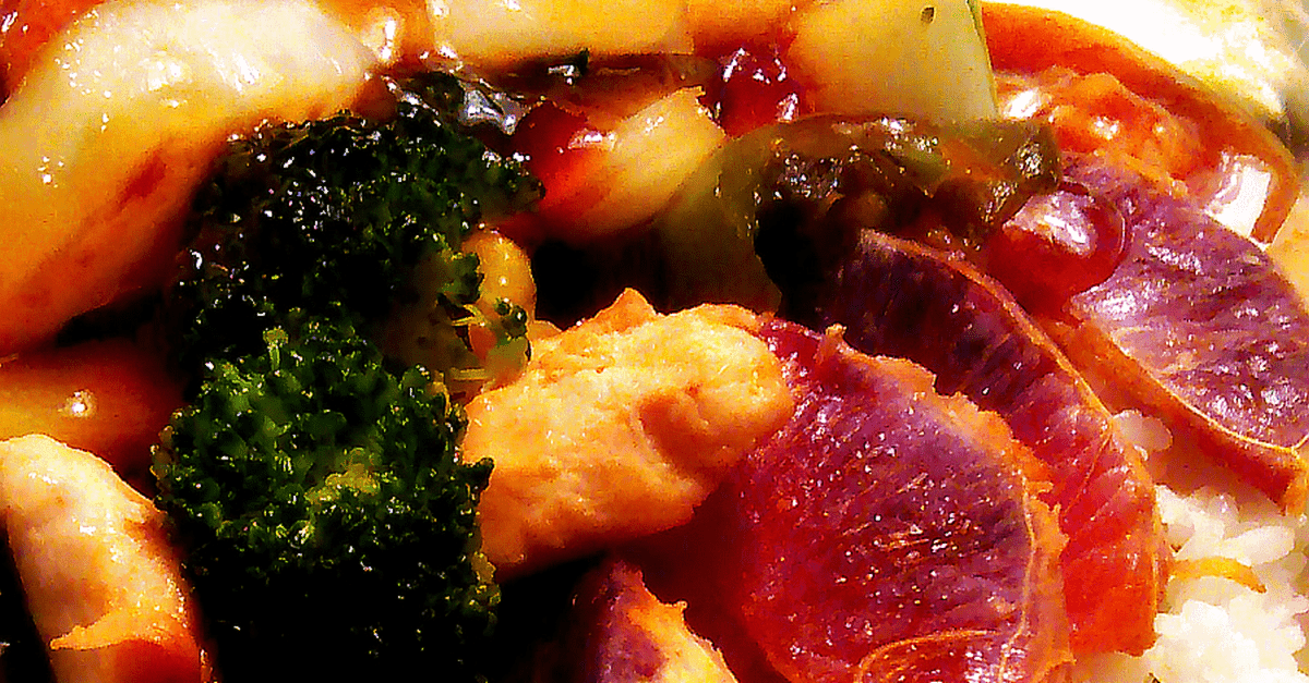 stir fry with apricot sweet and hot sauce