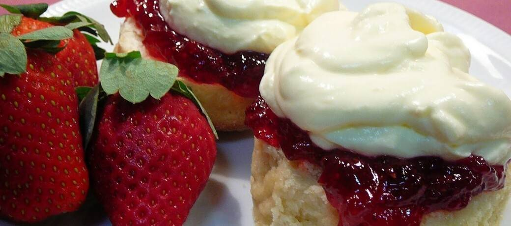 Buttery Vanilla Scones with Strawberry Jam