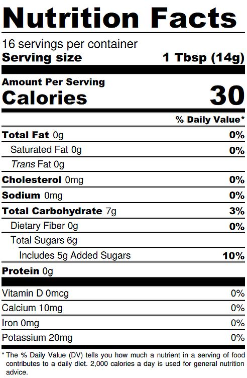Spiced Fig Nutrition Label