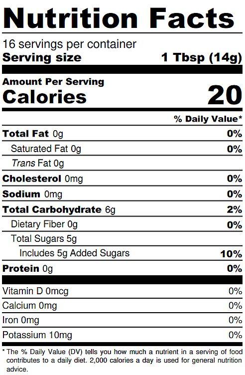 Winter Cranberry Jam Nutrition Label